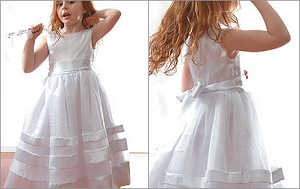 Satin Ribbon Flowergirl Dress { I } - 5 sizes (1,2,3,4,5)